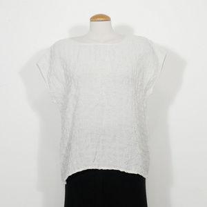 Ivory Viscose Linen Puckered Woven Check Box Top M